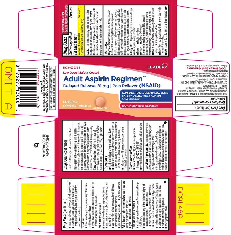 Leader Aspirin Delayed Release Tablets, 81mg, 120 Count