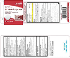 Leader Extra Strength Easy Open Acetaminophen 500mg Tablets, 100 Count