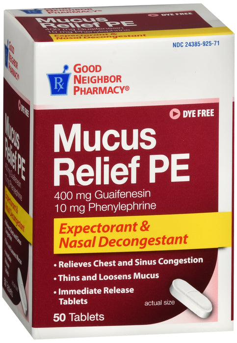 GNP Mucus Relief PE Expectorant & Nasal Decongestant, 50 Tablets