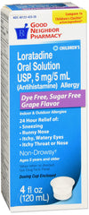 GNP Loratadine Oral Solution Dye Free Sugar Free Grape Flavor 5mg, 4 Fl Oz