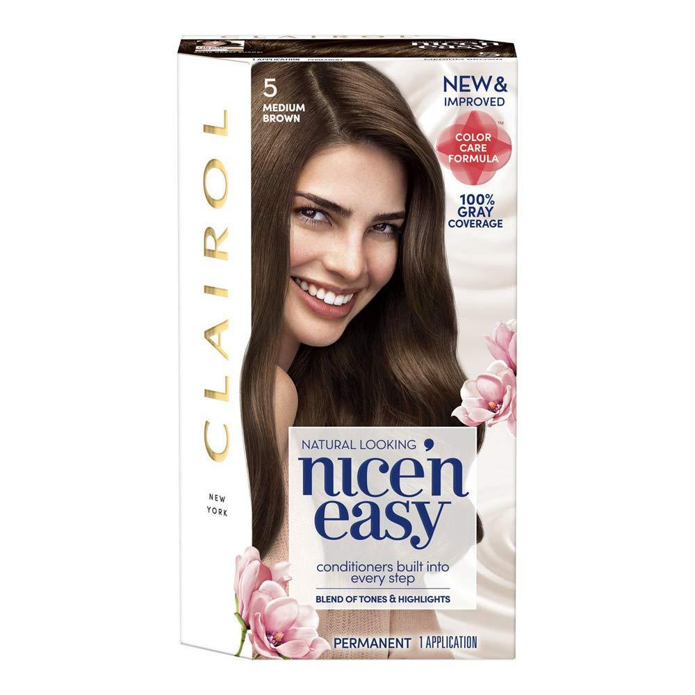 Clairol Nice'n Easy Permanent Hair Color 5 Medium Brown, 1 COUNT