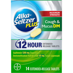 Alka Seltzer Plus Max Strength Cough and Mucus, 14 Extended Release Tablets in one Box