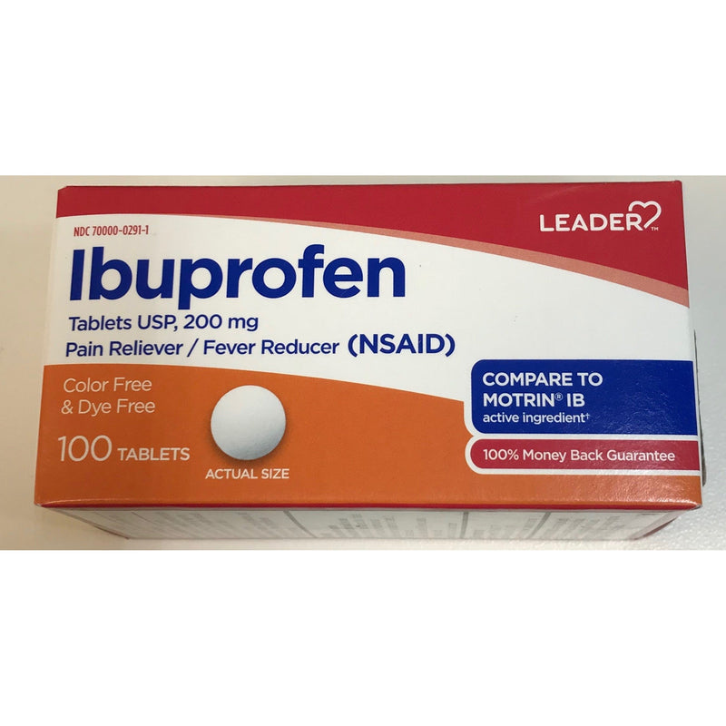 Leader Ibuprofen Tablets, Dye- Free, 200mg, 100 Count