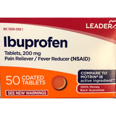 Leader Ibuprofen Tablets, 200mg, 50 Count