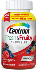 Centrum Adults 50+ Fresh & Fruity Chewable Multivitamins, Mixed Berry Flavor, 60 Count
