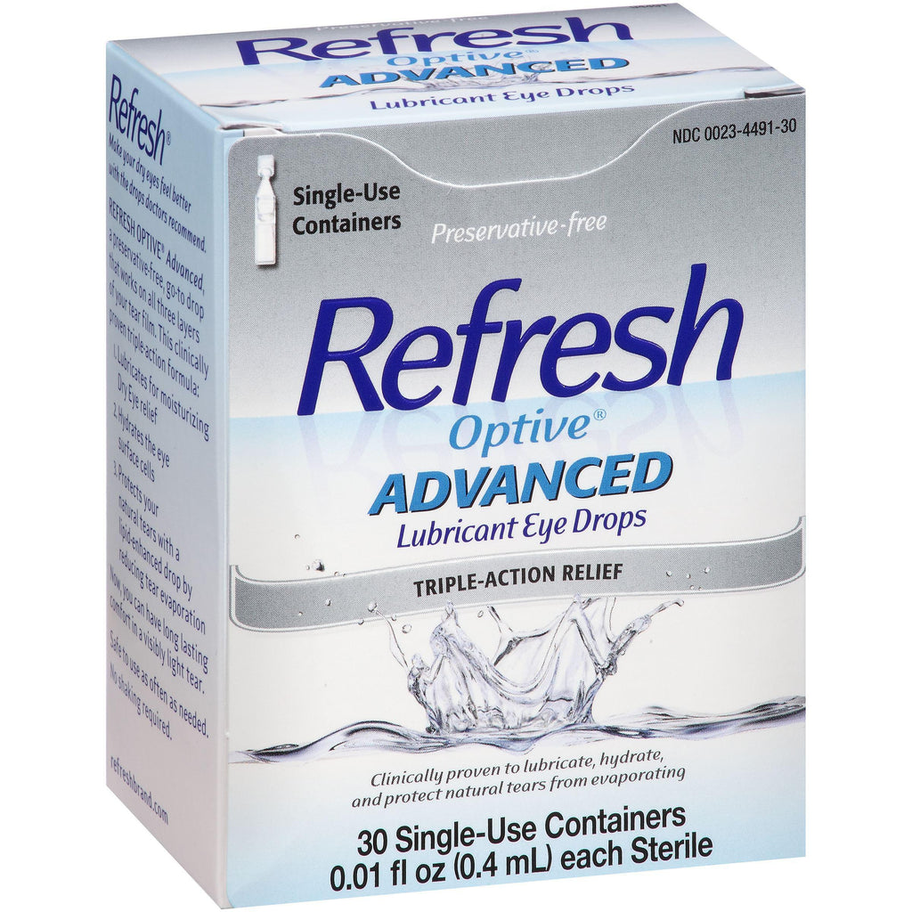 Refresh Optive Advanced Lubricant Eye Drops, 30 Single-Use Containers 0.01 Fl oz (0.4 ml)