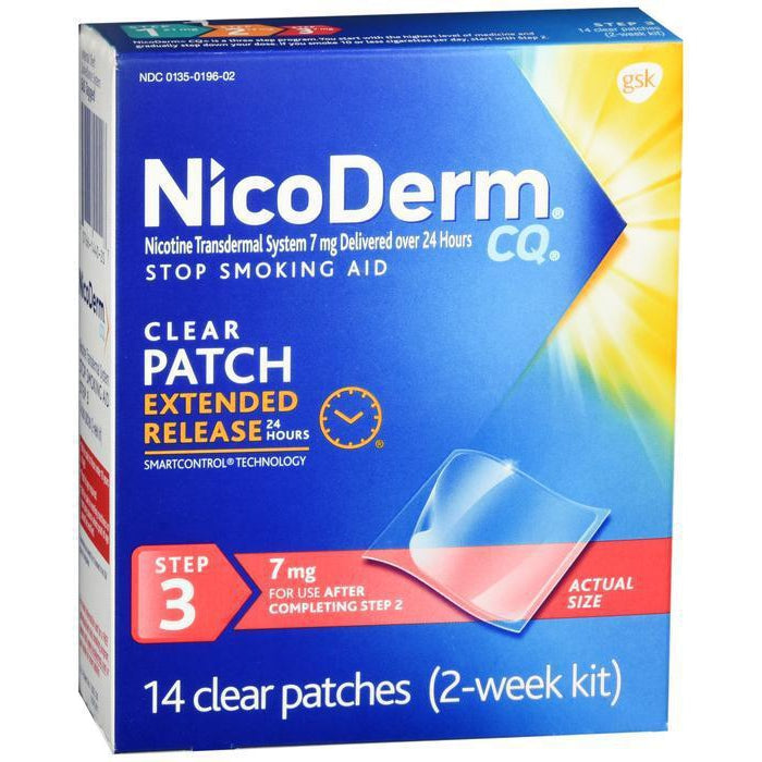 NicoDerm CQ Stop Smoking Aid 7 mg Clear Nicotine Patches, Step 3, 14 CT