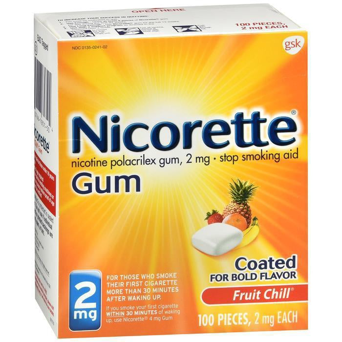 Nicorette Nicotine Gum Fruit Chill 2 mg Stop Smoking Aid 100 CT