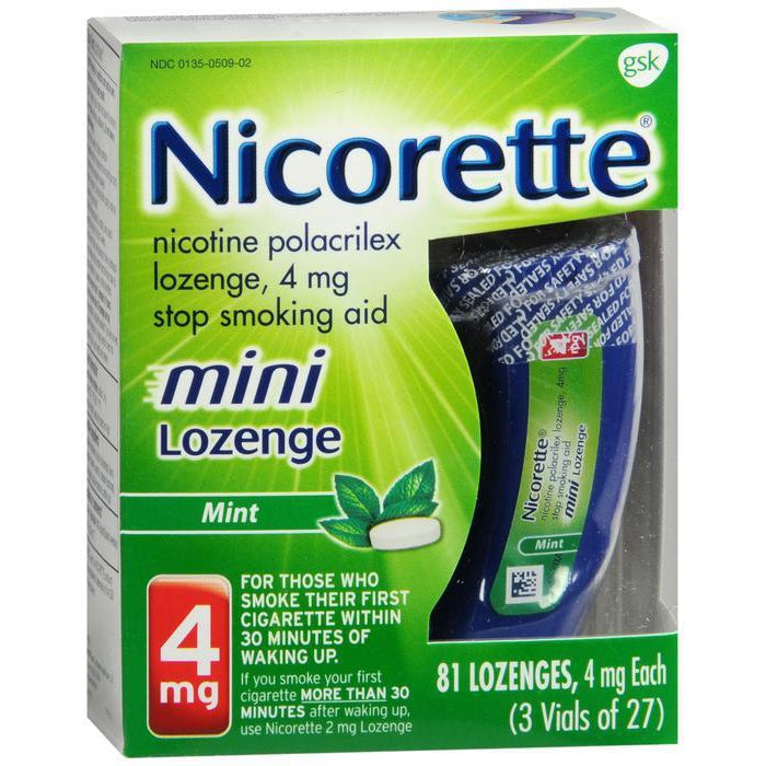 Nicorette Mini Nicotine Lozenges to Stop Smoking, 4mg, Mint Flavor - 81 CT