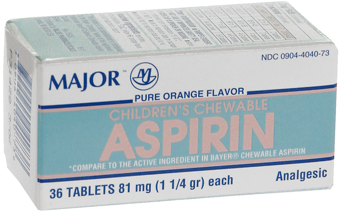 Major Aspirin Chewable 36 Tablets (81mg)- Orange Flavor