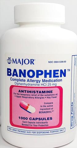 Major Banophen Allergy, 25 MG 1000 Capsules