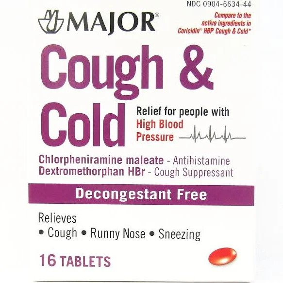Major Cough and Cold HBP Tablets, 16ct