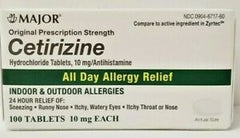 Major Cetirizine HCL Tablets, All Day Indoor and Outdoor Allergy Relief , 100ct.