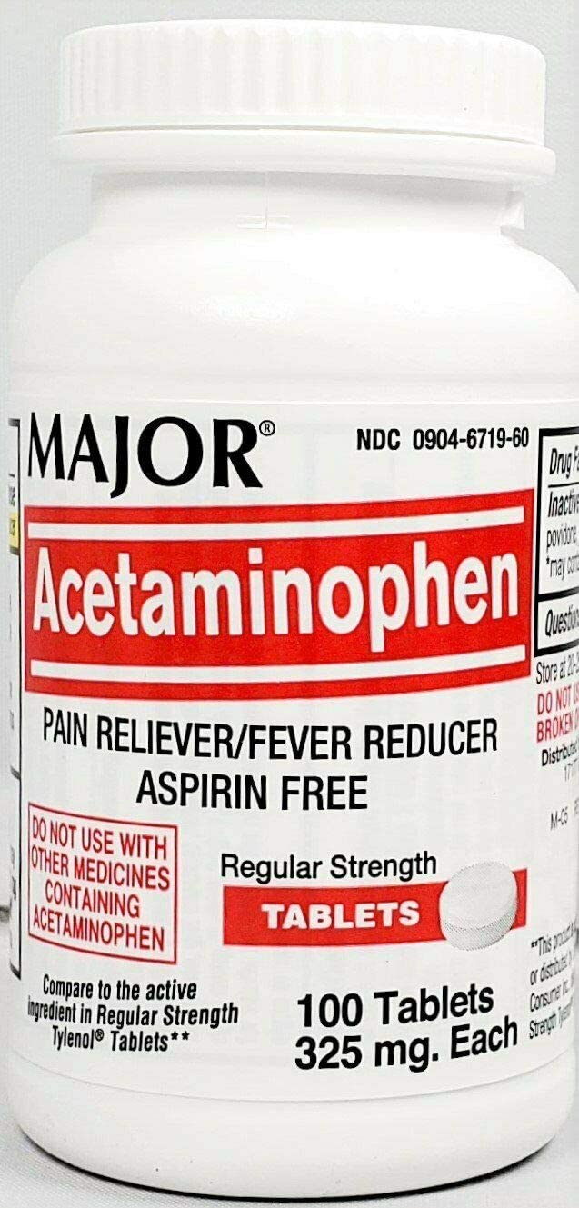 Major MAPAP Acetaminophen 325mg Tablets, 100 Count