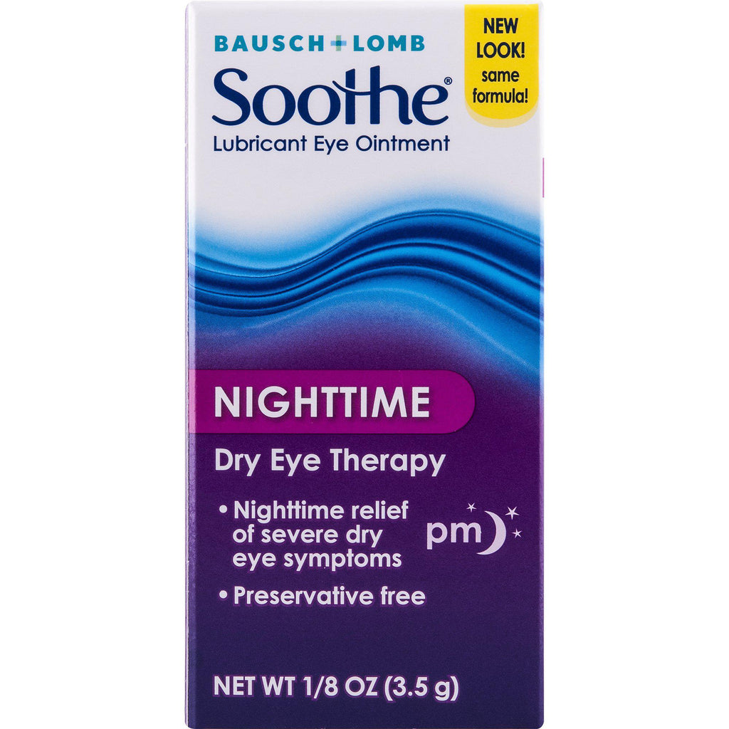 Bausch + Lomb Soothe Lubricant Eye Ointment Night Time Dry Eye Therapy, 0.13 Fl oz (3.5 g)