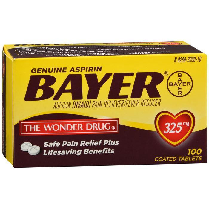 Bayer Aspirin 325mg Coated Tablets, 100 Count