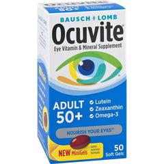 Bausch + Lomb Ocuvite Adult 50+ Vitamin & Mineral Supplement with Lutein, Zeaxanthin, and Omega-3, Soft Gels, 50-Count