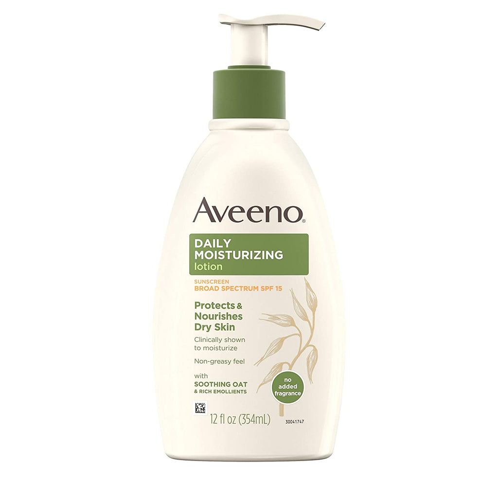 Aveeno Daily Moisturizing Body Lotion with Broad Spectrum SPF 15 Sunscreen, 12 fl. oz
