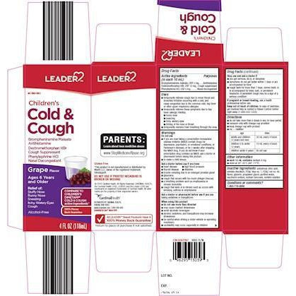 Leader Childrens Cold And Cough, Grape Flavored, 4 fl oz.