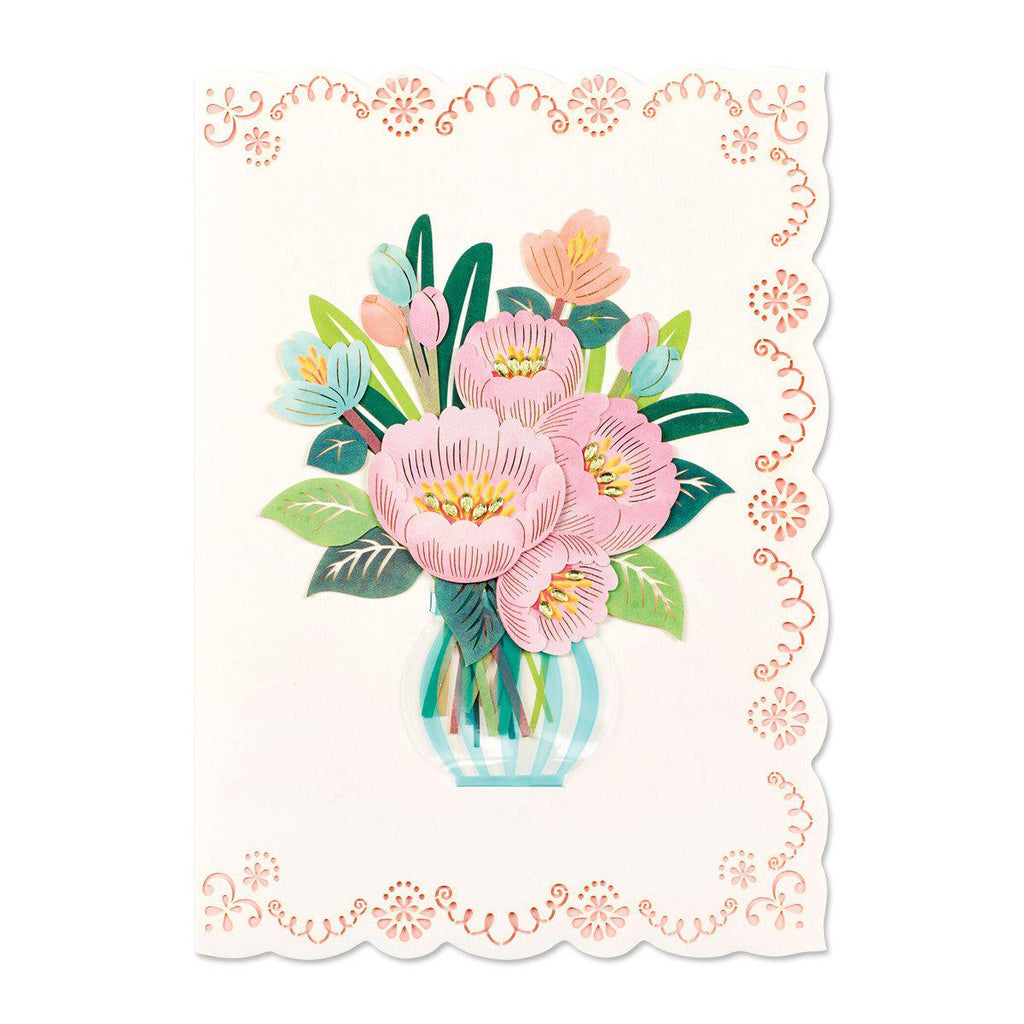 Papyrus Happy Birthday - Pink Floral In Vase