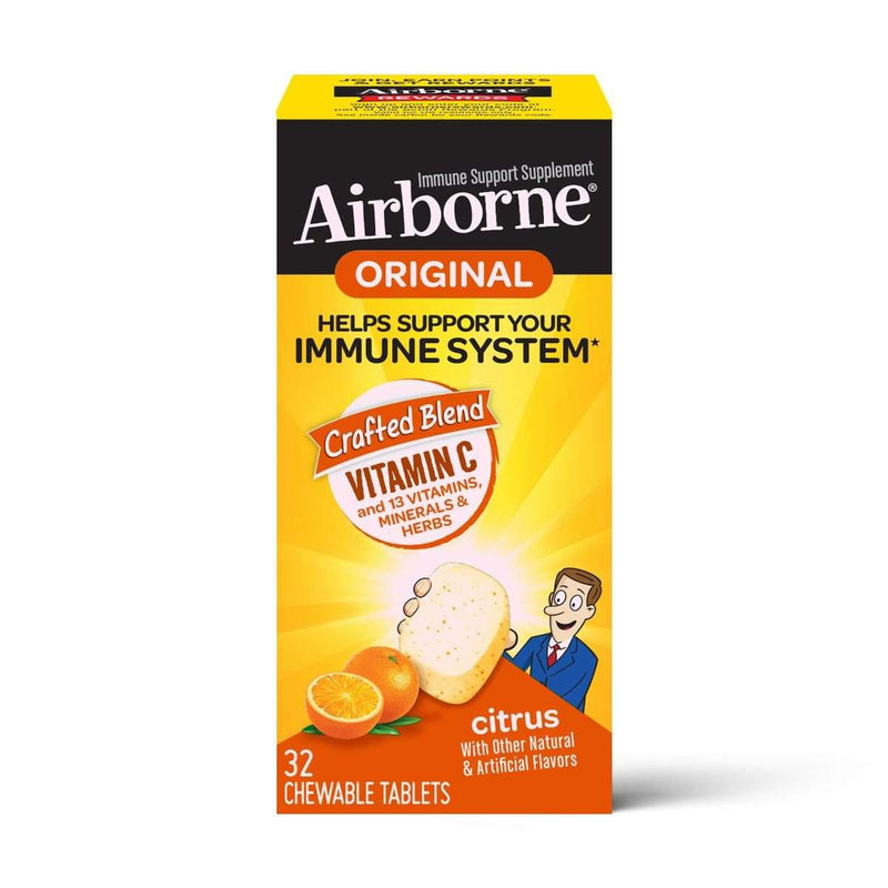 Airborne Chewable Tablets, Citrus Flavored, 32 Count