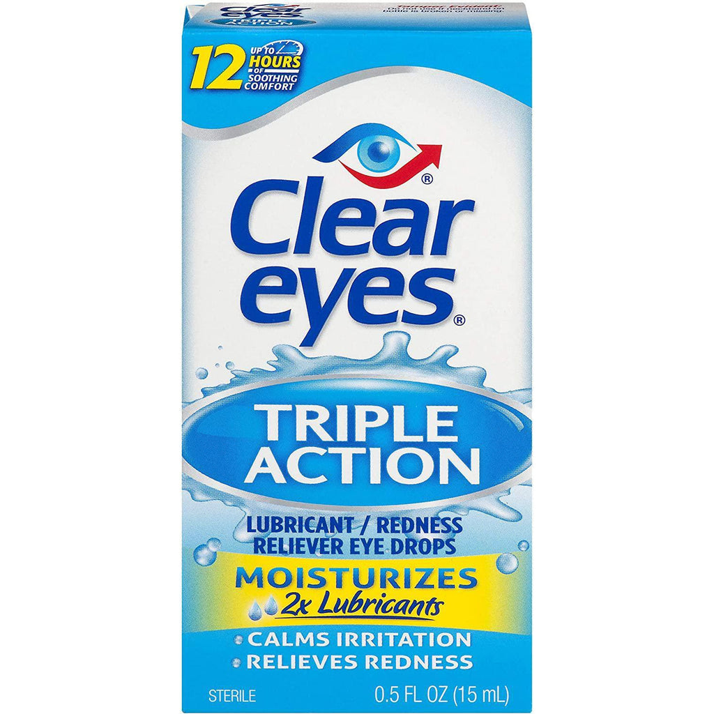 Clear Eyes Triple Action Lubricant/Redness Relief Eye Drops 0.5 Fl oz (15 ml)