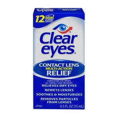 Clear Eyes Contact Lens Multi-Action Relief Eye Drops, 0.5 Fl oz (15 ml)