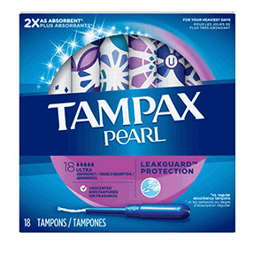 Tampax Pearl Ultra Plastic Tampons, Unscented, 18 CT