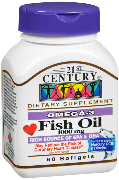 21st Century Fish Oil 1000mg, 60 Softgels
