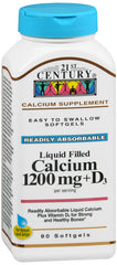 21st Century Liquid Filled Calcium 1200mg+D3, 90 Softgels