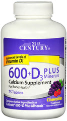 21st Century 600+D3 Plus Minerals Calcium Chewable Supplements, 75CT