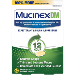 Mucinex DM 12-Hour Expectorant and Cough Suppressant, 40 Tablets