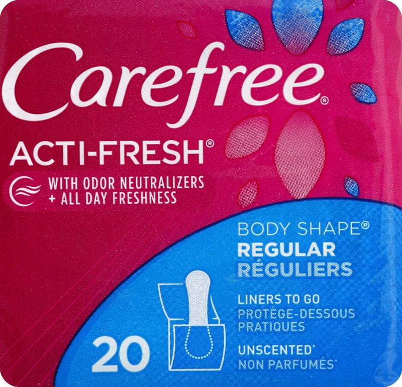 CAREFREE Acti-Fresh Body Shaped Pantiliners Unscented Regular, 20 ct