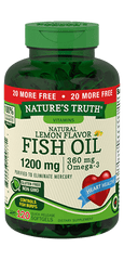 Nature's Truth Natural Lemon Flavor Fish Oil Quick Release Softgels, 1200mg, 120 Count