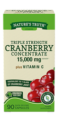 Nature's Truth Triple Strength Cranberry Concentrate Plus Vitamin C Quick Release Capsules, 15,000mg, 90 Count