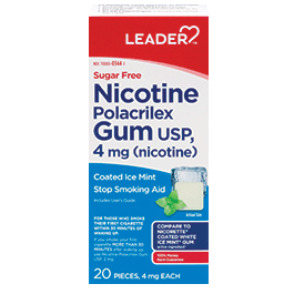 Leader Nicotine Gum 4 Mg Mint, Sugar Free 20 Ct