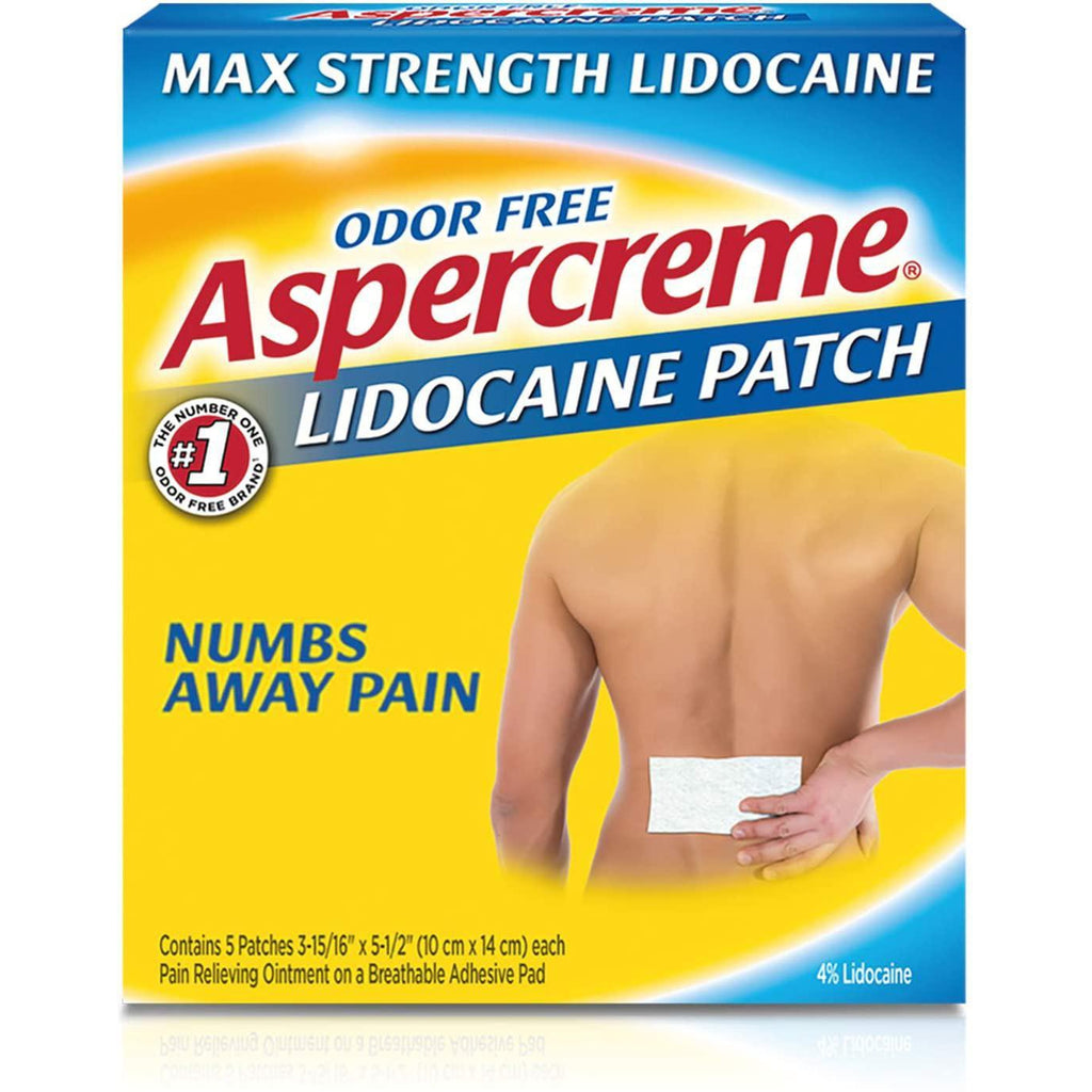 Aspercreme Odor Free Max Strength Lidocaine Pain Relief Patch for Back Pain, Lidocaine 4%, Pack of 5