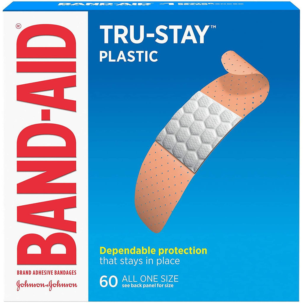 "Band-Aid Brand Tru-Stay Plastic Strips, 3/4"" x 3"", 60 Count"