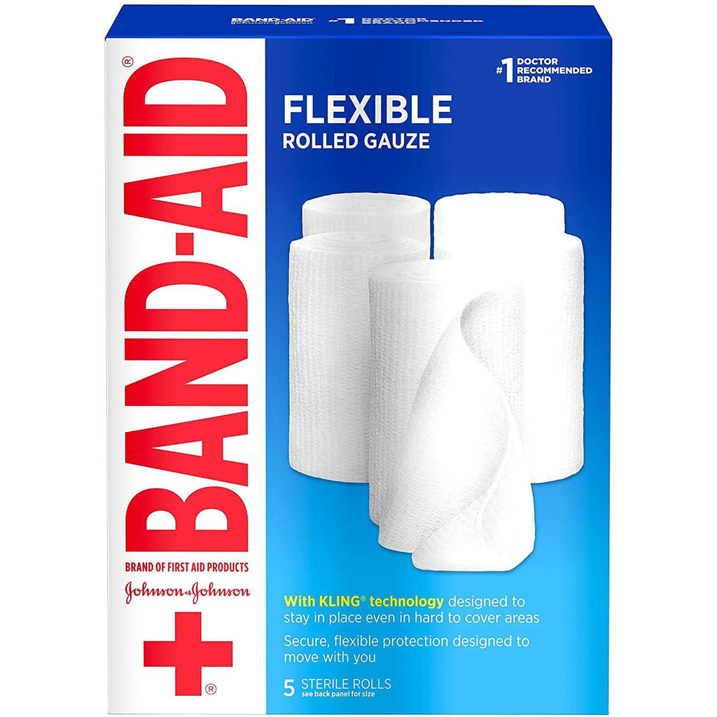 "Band Aid Flexible Rolled Gauze, 4"" x 2.1 Yard, 5 Count"