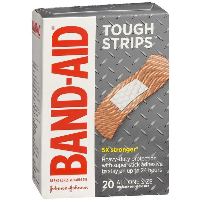 "Band-Aid Brand Tough Strips Adhesive Bandages, 1"" x 1 3/4"", 20 Count"