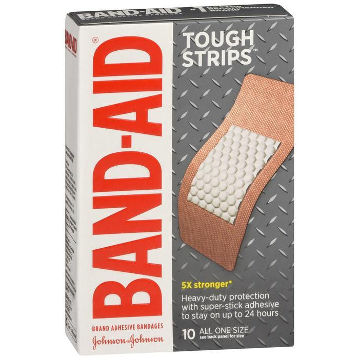 "Band-Aid Brand Tough Strips Adhesive Bandages, 1 3/4"" x 4"", 10 Count"