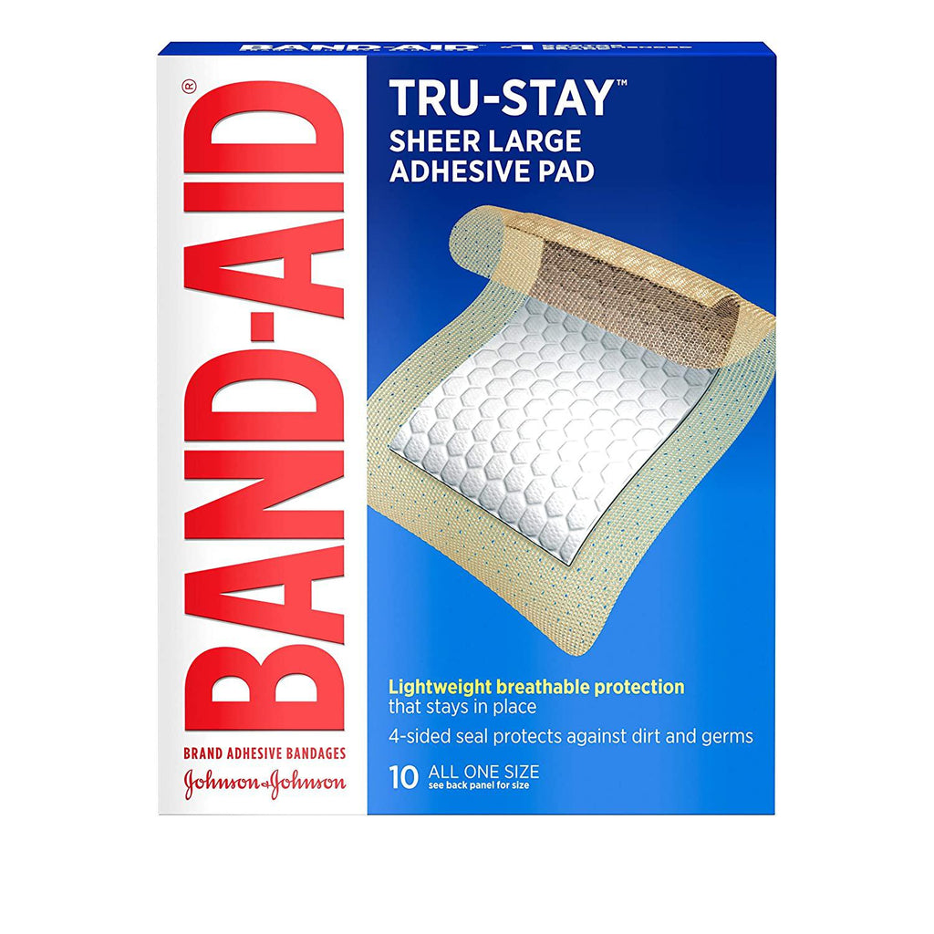 Band-Aid Brand Tru-Stay Adhesive Pads, Large Sterile Bandages for Wound Care, Large Size, 10 Count