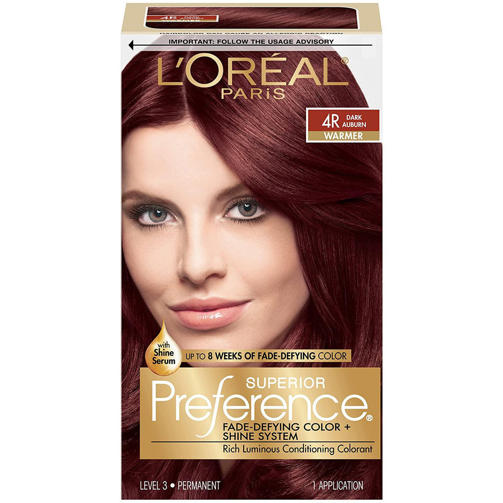 L'Oreal Paris Superior Preference Fade-Defying + Shine Permanent Hair Color, 4R Dark Auburn, 1 COUNT