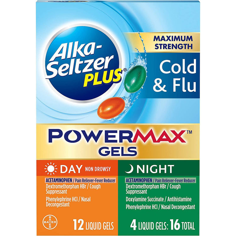 Alka Seltzer Plus PowerMax Gels Day Night, 16 PILLS IN ONE BOX