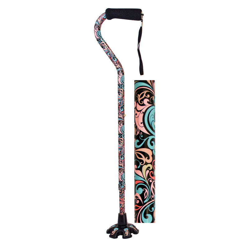 Essential Medical Supply- Couture Offset Fashion Canes with Matching Super BigFoot Tip, Celebration Style