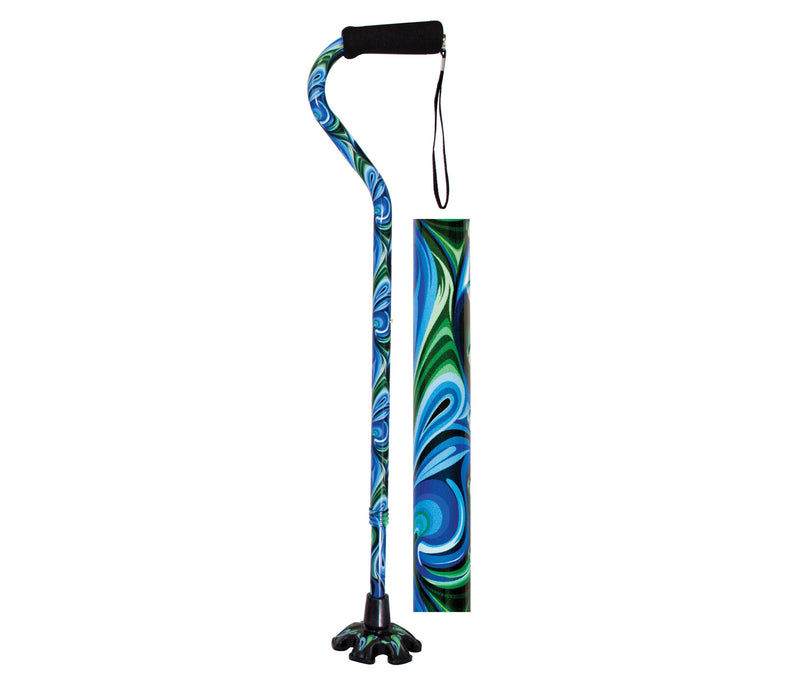 Essential Medical Supply- Couture Offset Fashion Canes with Matching Super BigFoot Tip, Swirl Style