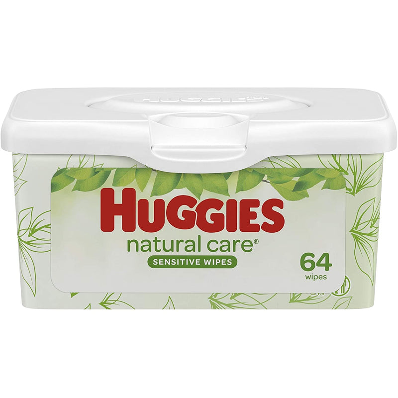 Huggies Natural Care Baby Wipes Tub, Fragrance Free, 64 Wipes Count