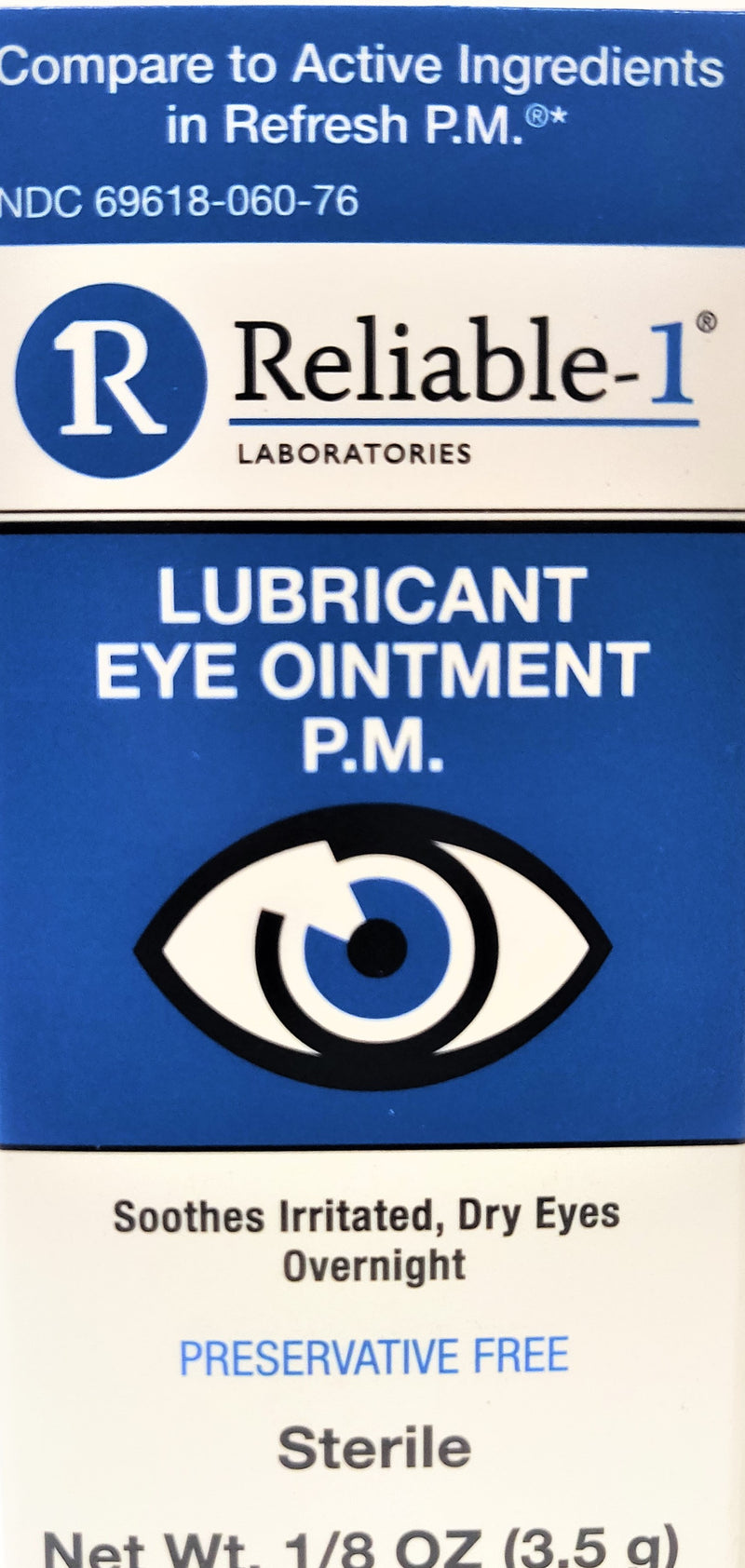Reliable-1 Laboratories Lubricant Eye Ointment PM 1/8 Oz (3.5g) - Soothes Irritated Dry Eyes Overnight - Sterile, Preservative Free
