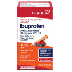 Infants' Ibuprofen Oral Suspension 50 mg per 1.25 mL, Berry Flavor, Pain Reliever/Fever Reducer (NSAID), For Ages 6 Mos. to 23 Mos, 0.5 FL OZ (15mL)