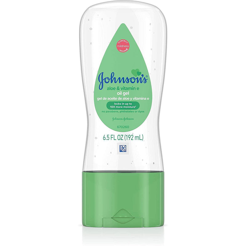 Johnson's Baby Oil Gel With Aloe Vera & Vitamin E, Hypoallergenic and Dermatologist Tested Baby Skin Care, 6.5 oz